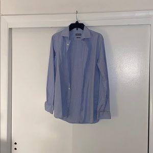 Micheal Kors slim button down blue n white shirt